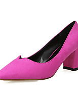 Women's Shoes Suede Chunky Heel Heels / Pointed Toe / Closed Toe Heels Dress Black / Pink