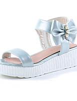 Women's Shoes Leatherette Flat Heel Platform Sandals Outdoor / Dress / Casual Black / Blue / Pink / Silver