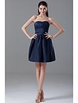 Lanting Short/Mini Taffeta Bridesmaid Dress - Dark Navy Ball Gown Strapless