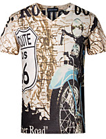 Men's Short Sleeve T-Shirt,Polyester Casual / Plus Sizes Print