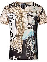 Tee-Shirt Décontracté / Grandes Tailles Pour des hommes Manches Courtes A Motifs Polyester