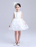A-line Knee-length Flower Girl Dress - Lace / Organza / Satin Sleeveless