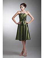 Lanting Knee-length Taffeta Bridesmaid Dress - Clover A-line Strapless