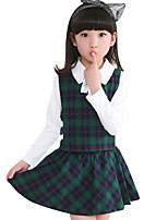 Girl's Cotton Spring / Fall Check Casual Three-piece Suit