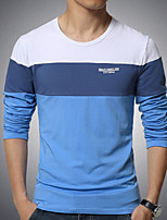 Men's Long Sleeve T-Shirt , Cotton / Spandex Casual Color Block