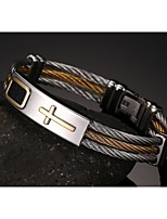 316 Titanium Steel Cross Wire Drawing Man Bracelet