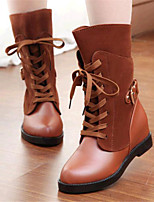 Women's Shoes Leatherette Wedge Heel Fashion Boots Boots Outdoor / Casual Black / Yellow / Burgundy