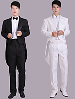 Suits Tailored Fit Notch Double Breasted Six-buttons Polyester Solid 4 Pieces Black / White