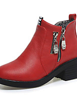 Women's Shoes Leatherette Chunky Heel Fashion Boots Boots Outdoor / Casual Black / Red / Gray