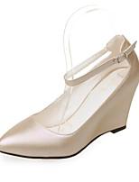 Scarpe Donna-Scarpe col tacco-Matrimonio / Casual / Serata e festa-Zeppe-Zeppa-Finta pelle-Rosa / Rosso / Bianco / Tessuto almond