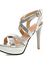 Women's Shoes Customized Materials Stiletto Heel Heels / Platform Sandals Wedding / Party & Evening / Silver
