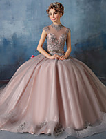 Formal Evening Dress - Pearl Pink Ball Gown High Neck Floor-length Lace / Tulle / Charmeuse