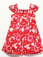 Girl's Red Dress , Floral Cotton Summer