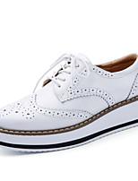 Women's Shoes Cowhide Flat Heel Platform Oxfords Outdoor / Dress / Casual Black / White / Almond / Burgundy