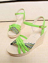 Women's Shoes Leatherette Wedge Heel Wedges Sandals Casual Black / Blue / Green / Pink / White