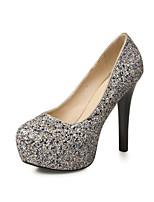 Chaussures Femme - Mariage / Habillé / Soirée & Evénement - Noir / Argent - Talon Aiguille - Talons - Talons - Paillette