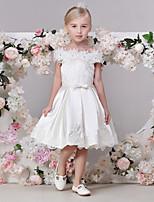 A-line Tea-length Flower Girl Dress - Satin Short Sleeve