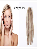 #27/613Double Drawn Tape In Hair Extensions 100% Remy Indian Human Hair Black Brown Blonde Pu Skin Weft 20pcs promotion