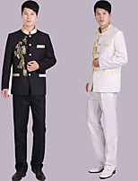 Suits Tailored Fit Mandarin Collar Single Breasted More-Button Polyester Patterns 2 Pieces Black / White