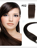 Tape In Human Hair Extension #2 Dark brown  20pcs Remy Brown Brazilian Virgin Straight Skin Weft Hair Extensions