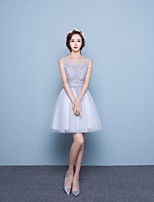 Cocktail Party Dress - Light Grey Ball Gown Jewel Short/Mini Lace / Tulle