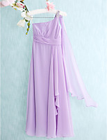 Floor-length Chiffon Junior Bridesmaid Dress-Lilac Sheath/Column One Shoulder