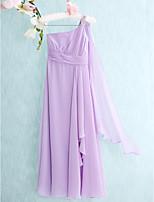 באורך רצפת שיפון שושבינה זוטר נדן שמלה-לילך / טור כתף אחת