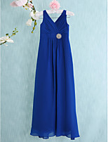 Floor-length Chiffon Junior Bridesmaid Dress-Royal Blue Sheath/Column V-neck
