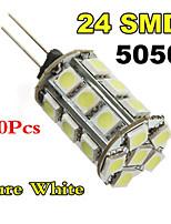 10xg4 3W 24x5050smd varmvit / vitt ljus ledde majs glödlampa (DC 12V)