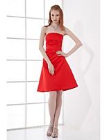 שמלת השושבינה סאטן באורך הברך לנטינג - אודם סטרפלס א-קו