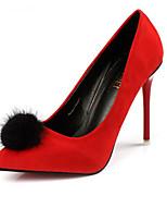 Women's Shoes Velvet Stiletto Heel Pom-pom Heels Office & Career Black / Red / Gray