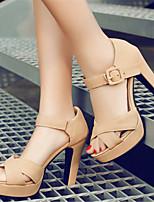 Women's Shoes Leatherette Chunky Heel Heels / Platform Sandals Office & Career / Dress / Casual Black / Pink / Beige