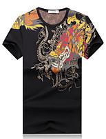 Masculino Camiseta Casual / Escritório / Esporte / Tamanhos Grandes Estampado Algodão / Elastano Manga Curta Masculino