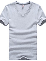 Men's Fashion Solid Color V Collar Slim Fit Short-Sleeve T-Shirt