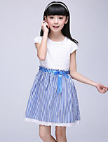 Girl's Blue / Pink Dress Cotton Summer