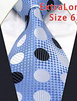 Men's Tie Laight Blue Dots Geometrical 100% Silk Business  Dress Casual Long