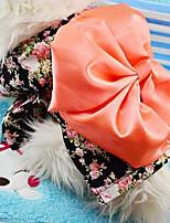 Dog Jumpsuit Black / Pink Spring/Fall Floral / Botanical / Bowknot Fashion