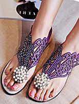 Women's Shoes Fleece Flat Heel Comfort Sandals Dress / Casual Black / Purple