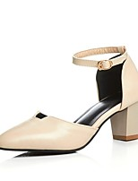 Women's Shoes Leatherette Chunky Heel Heels Heels Wedding / Office & Career / Party & Evening Black / White / Beige