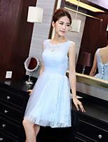 שמלה לשושבינה  - שמים הכחולים גזרת A - עם תכשיטים - באורך  הברך - תחרה / טול