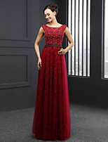 Formal Evening Dress - Burgundy Sheath/Column Jewel Sweep/Brush Train Lace