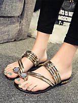 Zapatos de mujer-Tacón Plano-Comfort-Sandalias / Pantuflas-Exterior / Casual-Semicuero-Negro / Plata / Oro