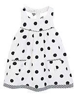 Girl's White Dress,Dot Cotton Summer