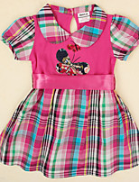 Girl's Dress Summer Plaid Skirt Butterfly Embroidery Children Dresses(Random Printed)
