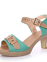 Women's Shoes Sandals Leatherette  Chunky Heel Office & Outdoor & Casual &Dress Black/Blue/Green