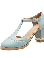 Women's Shoes Chunky Heel Heels / T-Strap / Pointed Toe Heels Office & Career / Dress / Casual Blue / Pink / Almond