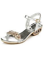 Chaussures Femme-Bureau & Travail / Décontracté / Soirée & Evénement / Habillé-Noir / Argent / Or-Gros Talon-Bout Ouvert-Sandales-