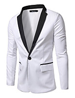 Suits Slim Fit Notch Single Breasted One-button Cotton Blend Solid 1 Piece Black / White