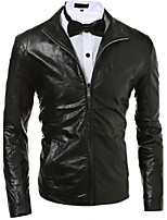 Men Faux Leather Top , Belt Not Included