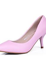 Zapatos de mujer - Tacón Stiletto - Tacones / Punta Cerrada / Puntiagudos - Tacones - Vestido - Cuero - Negro / Rosa / Blanco / Gris